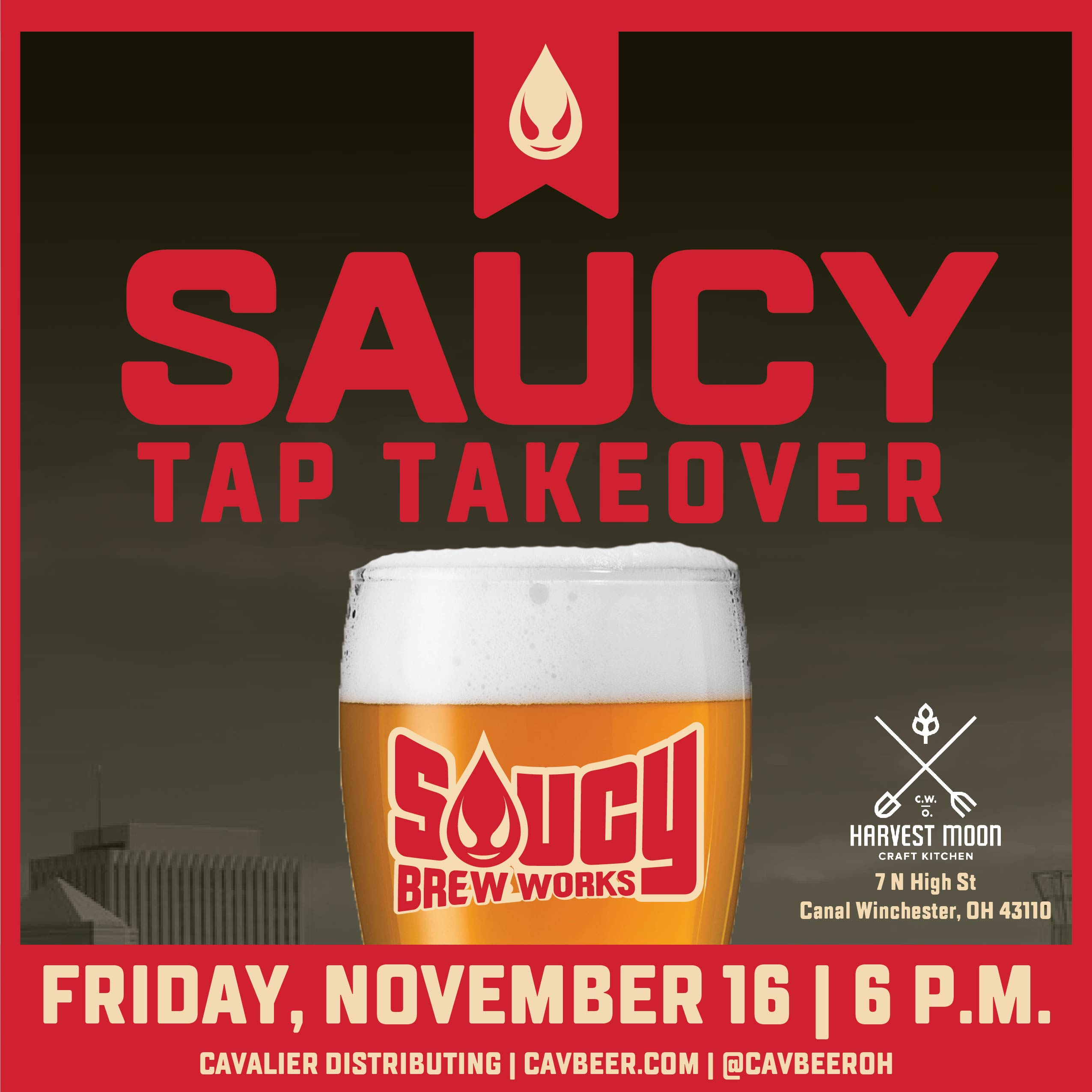 Saucy Beer Works Tap Takeover @ Harvest Moon