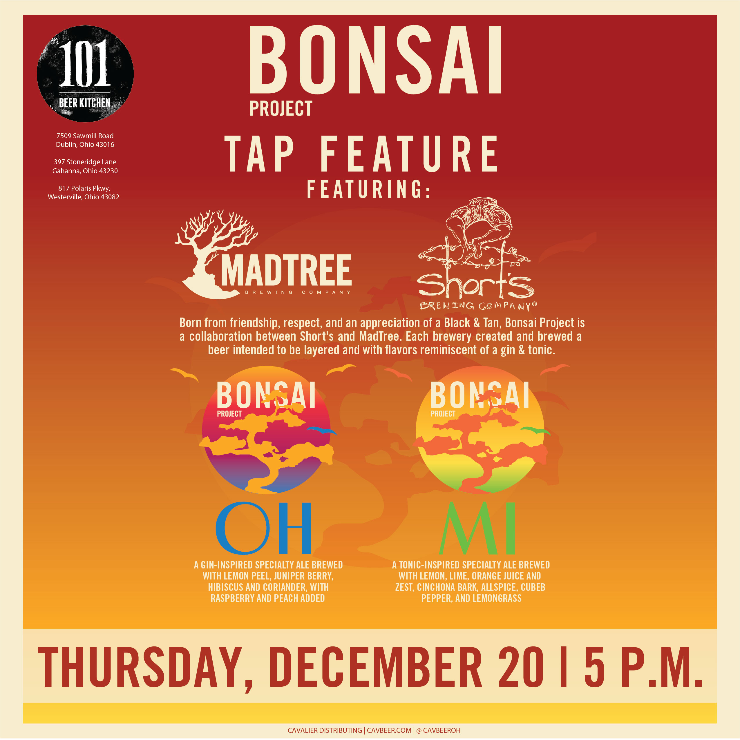 MadTree & Short's Bonsai Project @ 101 Beer Kitchen