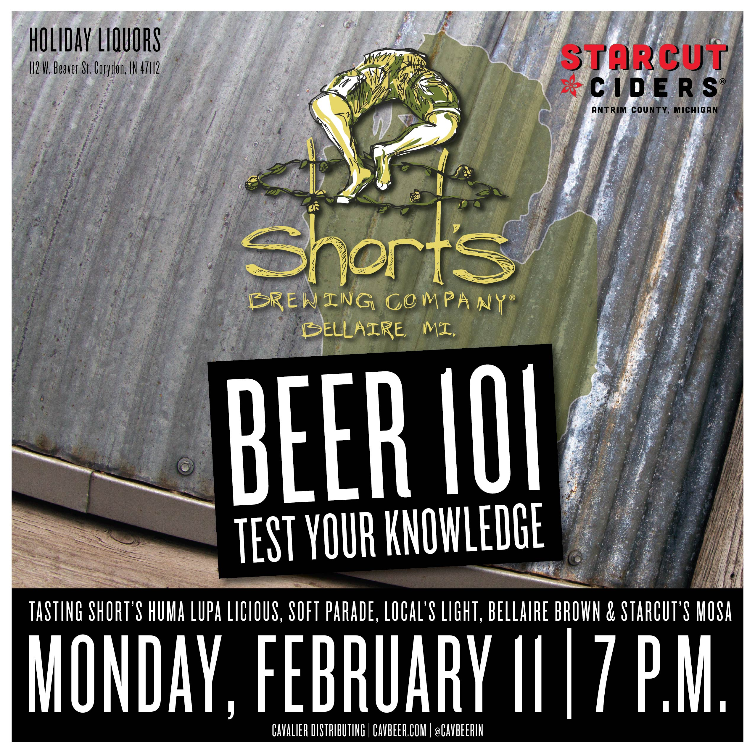 Beer 101 with Short's Brewing & Starcut Ciders @ Holiday Liquors