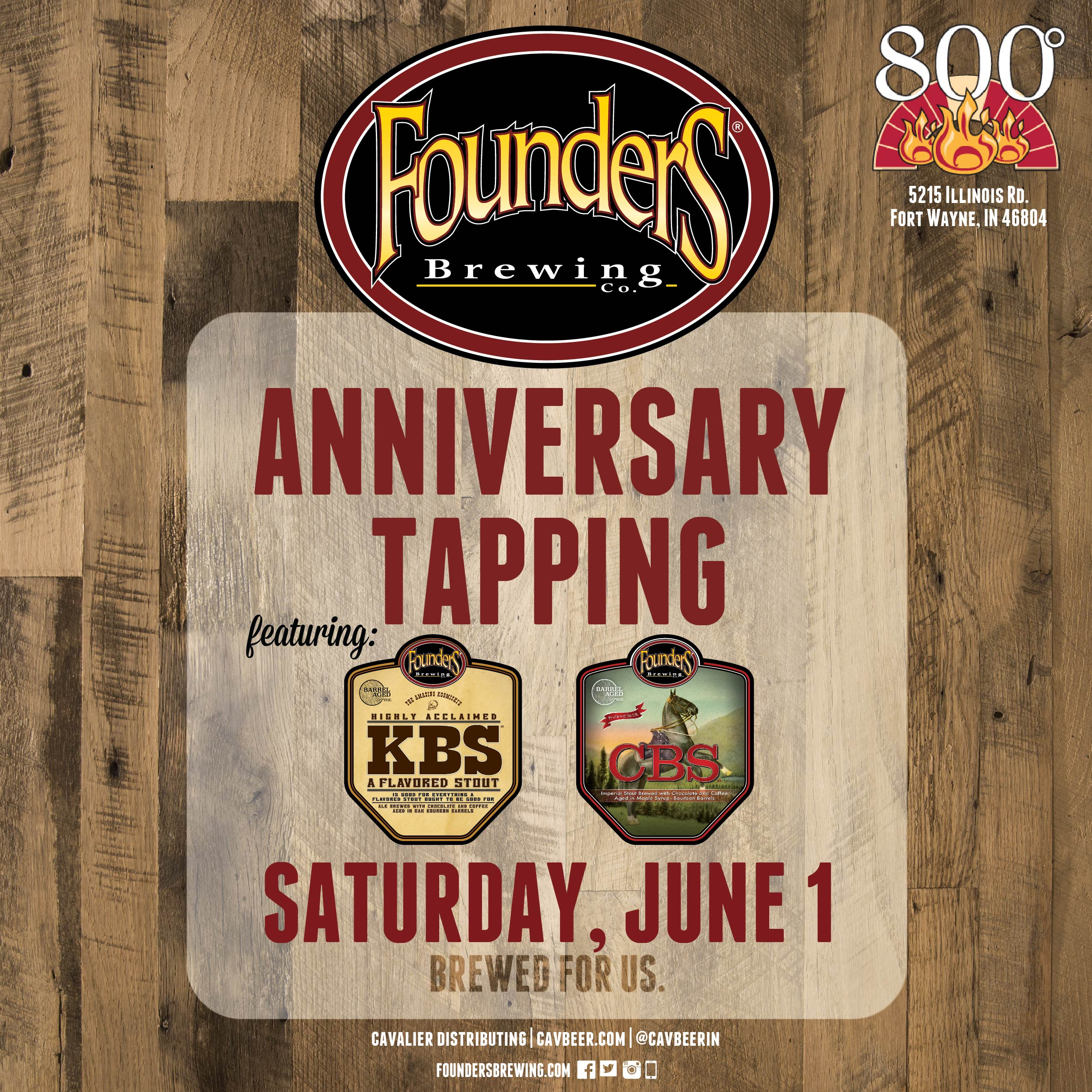 Founder's Anniversary Tapping @ 800 Degrees 3 Fires