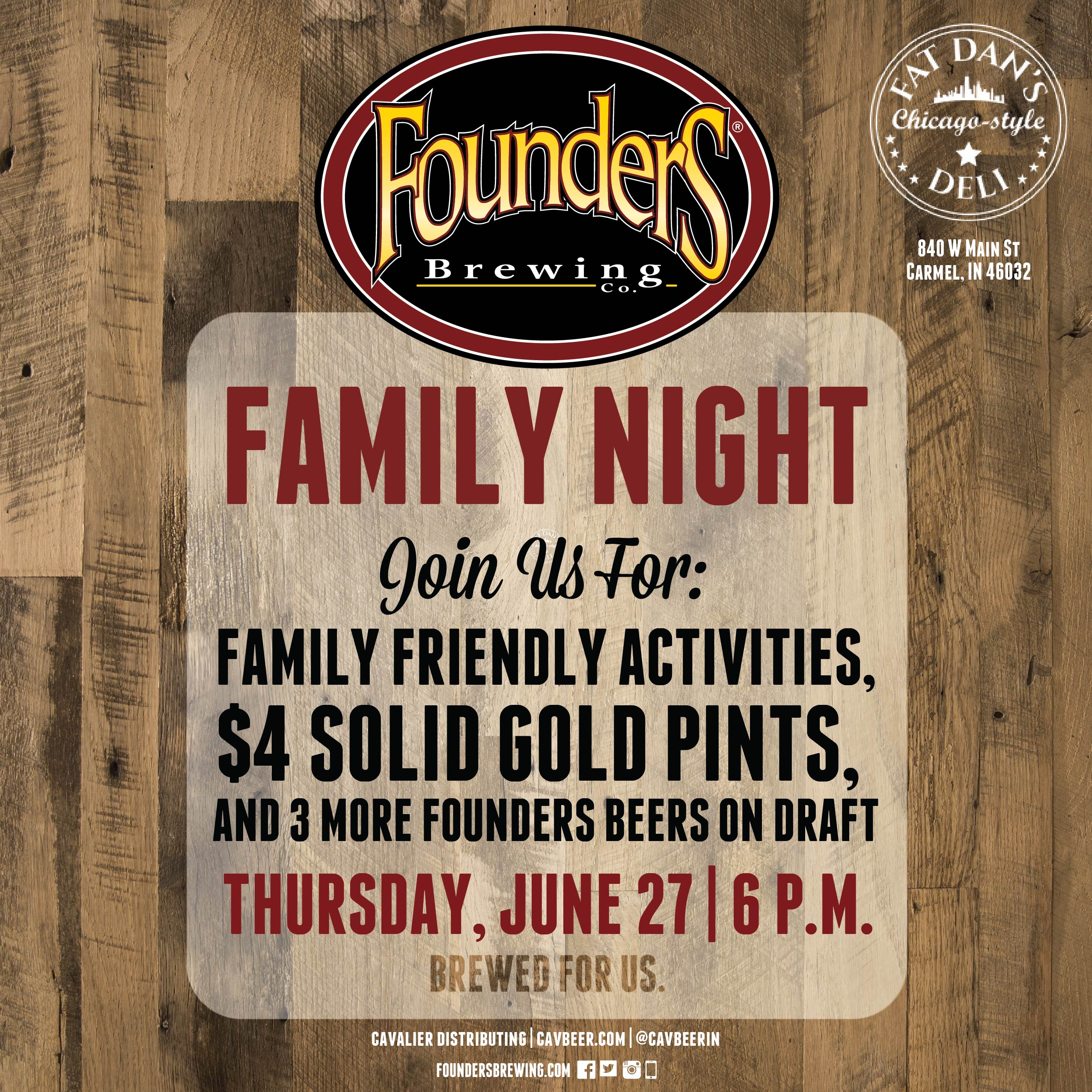 Founder's Family Night @ Fat Dan's Deli