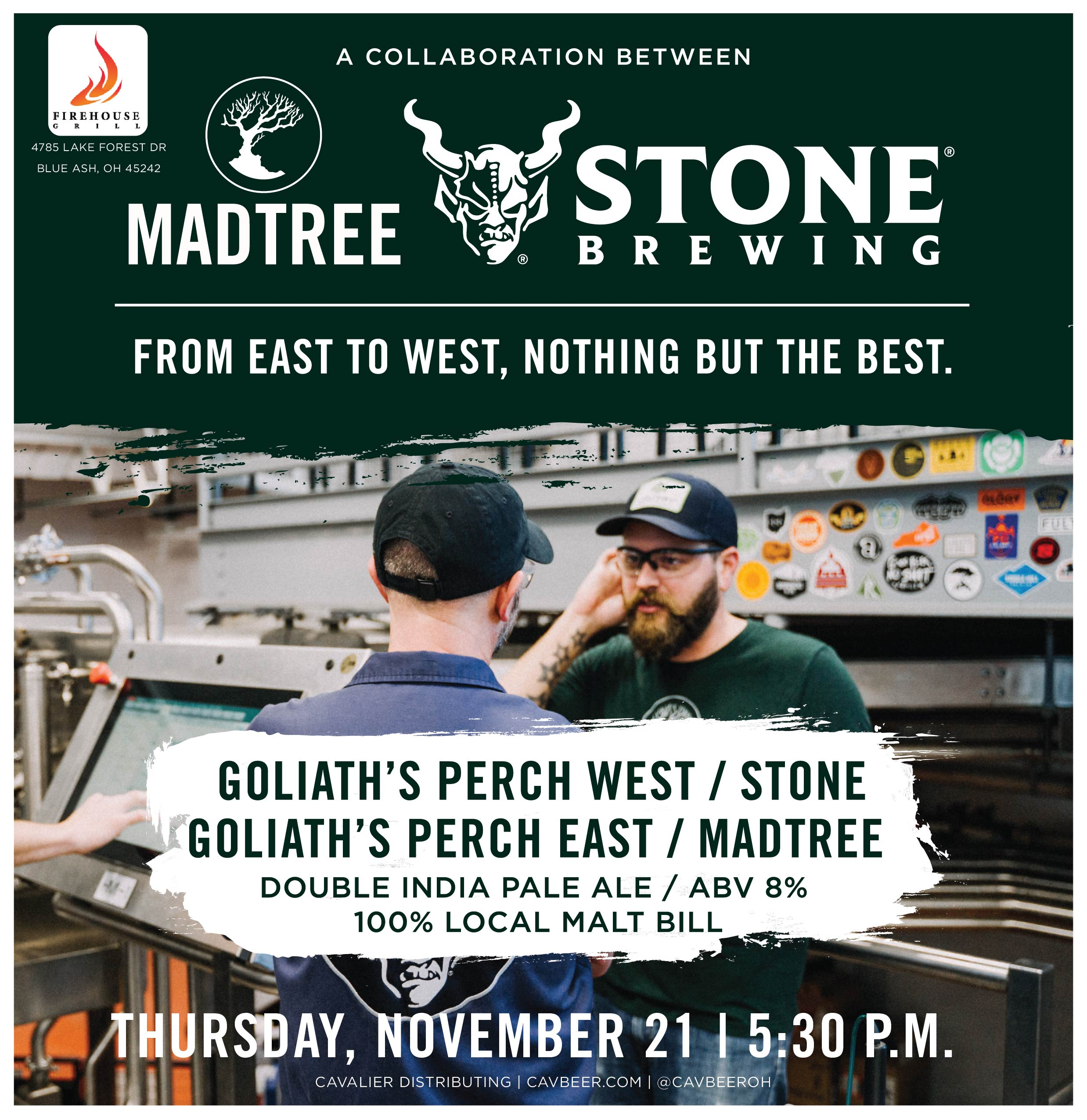 Stone Brewing & MadTree Brewing Collab @ Firehouse Grill